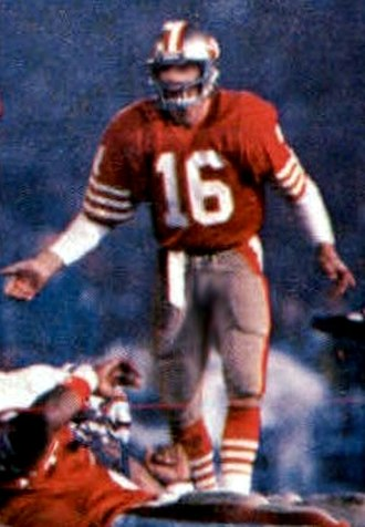 Joe Montana - Montana pictured with the 49ers in Super Bowl XIX.