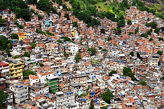 Favela - Rocinha is the largest hill favela in Rio de Janeiro (as well as in Brazil and the entire Latin America). Although favelas are found in urban areas throughout Brazil, many of the more famous ones exist in Rio.