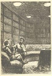 Deux hommes discutant assis sur un divan dans une bibliothèque.