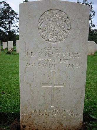 John Pendlebury - Grave of Pendlebury in Suda Bay War Cemetery