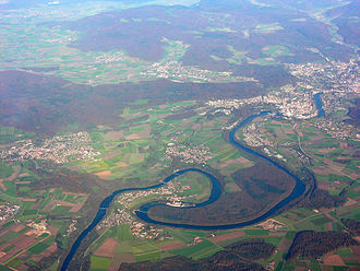 Beringen, Switzerland - Aerial view with surrounding villages and the Rhine. Beringen is located in the center of the top part of the photograph