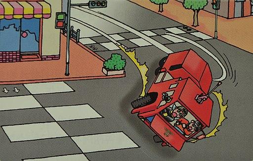 2007년 서울소방 위험예지훈련 삽화출동도중 화학차가 옆으로 쏠림
