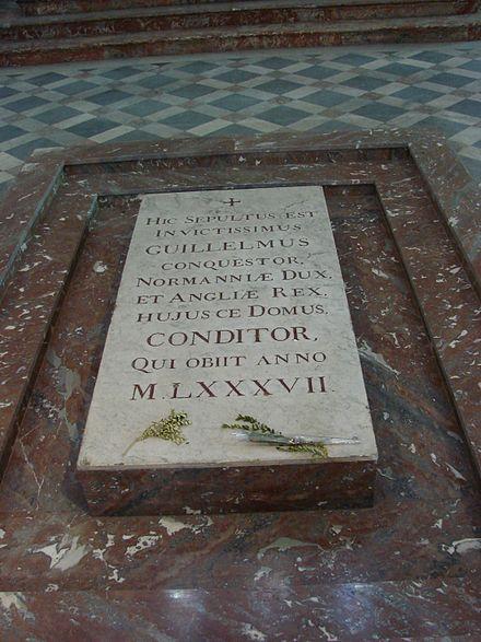Zijn grafsteen te Caen