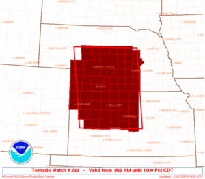 Tornado watch - An example of a tornado watch for parts of Kansas and Nebraska, issued by the Storm Prediction Center on May 5, 2007.