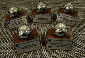Cycle Friendly Awards - Trophies for the winners of the five categories of the 2009 Cycle Friendly Awards