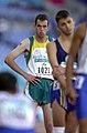 231000 - Athletics track 800m T36 final Malcolm Bennett waits - 3b - 2000 Sydney race photo.jpg