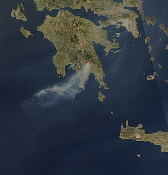 2007 Greek forest fires - Rapidfire – NASA image of the fires, taken on 23 August