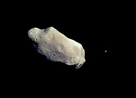 243 Ida and its moon Dactyl. Dactyl is the first satellite of an asteroid to be discovered. 243 ida.jpg