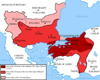 Murad I - Map of the conquests of Murad I