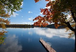 A typical lake scene in Muskoka Lakes.