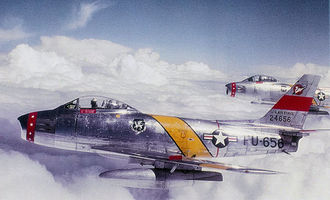 Tactical Air Command - North American F-86F-30-NA Sabres of the 50th FBW flying over West Germany. AF Ser. No. 52-4656 is in front. The 50th was formed at Cannon Air Force Base, New Mexico in 1953, then transferred to Hahn Air Base, West Germany. The 50 FW was assigned to USAFE for nearly 40 years throughout the Cold War.
