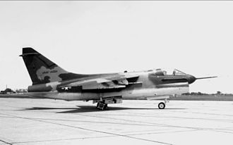 LTV A-7 Corsair II - YA-7D-1-CV AF Serial No. 67-14582, the first USAF YA-7D, 2 May 1968. Note the Navy-style refueling probe and the modified Navy Bureau Number used as its USAF tail number.