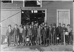 Fairmont, West Virginia - Child laborers at Monougal Glass Works in Fairmont, 1908.  Photo by Lewis Hine.