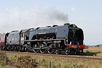 6233 Duchess of Sutherland hauling the Yorkshire Coronation to Scarborough.jpg