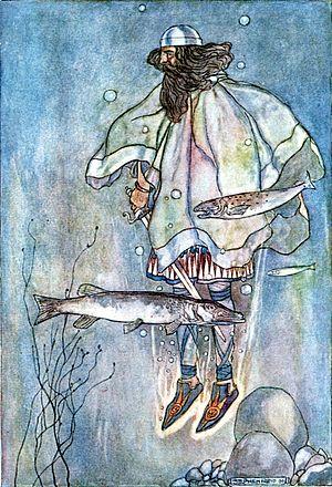 "Fergus mac Léti - ""Fergus goes down into the lake"", illustration by Stephen Reid in T. W. Rolleston's The High Deeds of Finn (1910)"