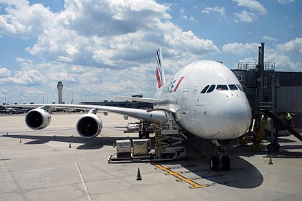 Air France operates daily Airbus A380 flights to Paris from gate A20/A22, as seen in the photo. Along with United Airlines, the route carries 480,000 passengers a year. - Washington Dulles International Airport