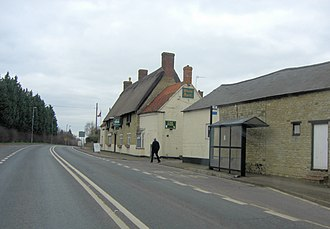 A508 road - Image: A508 passes The White Hart Public House (geograph 3345421)