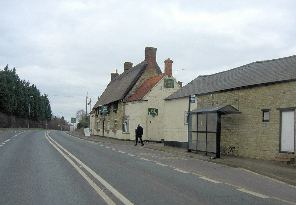 A508 passes The White Hart Public House (geograph 3345421)