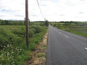 A81 road - A long straight on the Glasgow - Aberfoyle road where it crosses an area of wetland