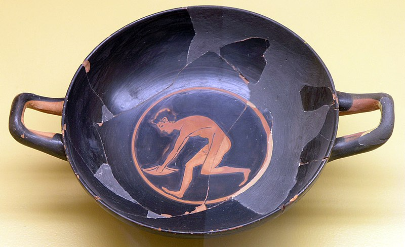 Greek Kylix Painting of Long Jumper With Halteres