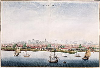 First Opium War - View of Canton with merchant ship of the Dutch East India Company, c. 1665