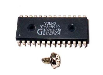 General Instrument AY-3-8910 - AY-3-8912 chip, 28-pin DIP package with computer case screw for scale