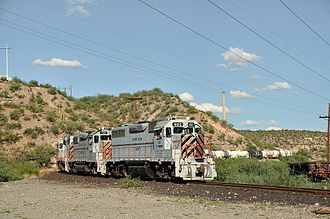 Hayden, Arizona - Copper Basin Railway leaving Hayden with tank cars full of acid heading for the mine at Ray, Arizona. August 7th, 2010, 112 degrees.