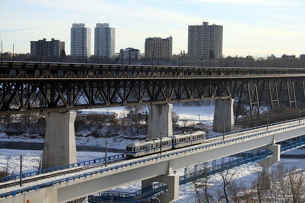 A LRT Train crossing the Saskatchewan River Edmonton
