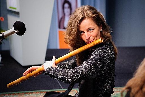 A bansuri player Stephanie Bosch, flute side blown wind instrument India