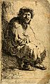 A beggar sitting on a hillock. Etching by J. Bretherton afte Wellcome V0049110.jpg
