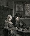A couple sitting at a table; the man holds a glass in one ha Wellcome V0040106.jpg