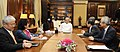 A delegation from Japan-India Business Cooperation Committee led by the Chairman of BOD of Mitsui & Co., Mr. Masami Iijima meeting the Union Minister for Finance and Corporate Affairs, Shri Arun Jaitley, in New Delhi.jpg