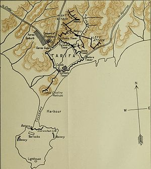 Siege of Tarifa (1812) - A map of Tarifa and the surrounding area during the siege