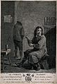 A man sits on a stool smoking a pipe, behind a man relieves Wellcome V0019039.jpg