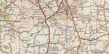 Old map of Gatwick Airport area