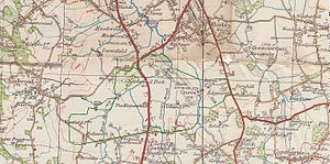 Gatwick Racecourse - Gatwick Airport area as at about 1925 with current airport boundary in green outline. The racecourse is in the northeast end of the airport area.