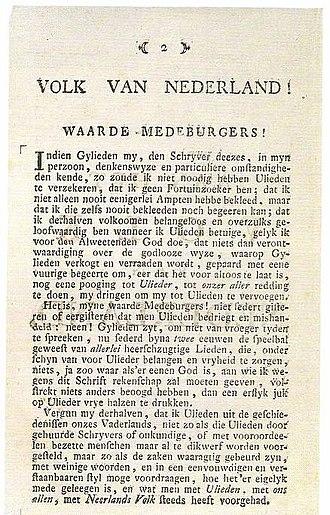 Patriottentijd - The first page of Aan het Volk van Nederland.