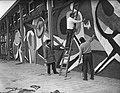 Aanbouw tentoonstelling E55 Rotterdam, Bestanddeelnr 907-0826.jpg