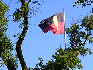Australian Aboriginal Flag - Image: Aboriginal Flag Victoria Square