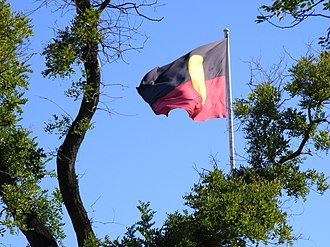 Australian Aboriginal Flag - Aboriginal flag flying in Victoria Square, Adelaide (2008); near where the flag was first flown