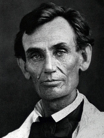 Lincoln in 1858, the year of his debates with Stephen Douglas over slavery. Abraham Lincoln by Byers, 1858 - crop.jpg