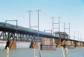 Havre de Grace, Maryland - Northbound Acela Express crossing Amtrak's Susquehanna River Bridge, at Havre de Grace
