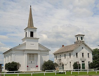 Addison, Vermont - The Addison Community Baptist Church and Addison Town Hall located at Addison Four Corners.