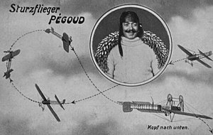 Adolphe Pégoud - German pre-war postcard depicting Pégoud's loop