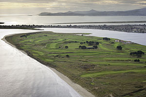 Golf in Ireland - Aerial View of Portmarnock Golf Club and peninsula