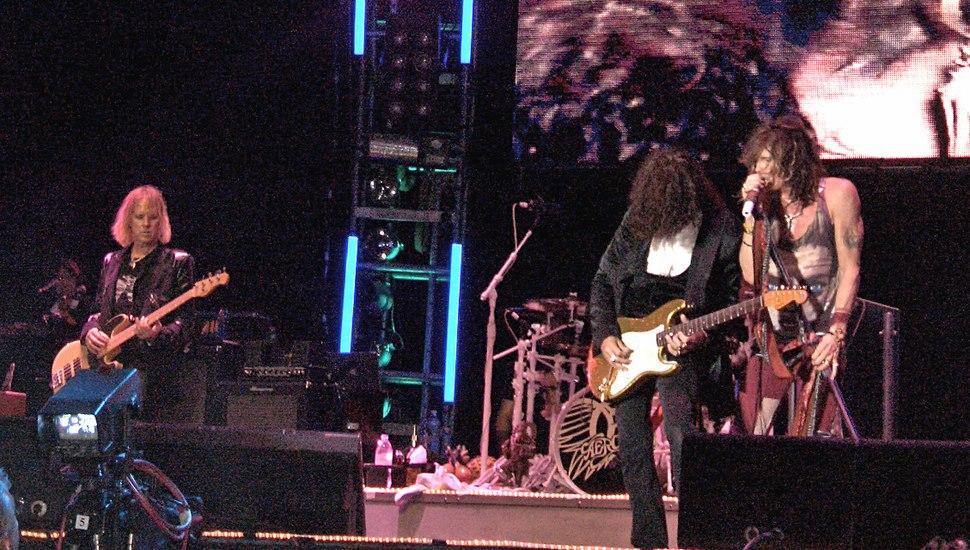 Aerosmith performing.