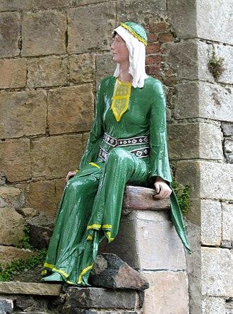 Guðrøðr Óláfsson - Mannequin of Guðrøðr's daughter, Affrica, at Carrickfergus Castle. The mannequin is looking though the window of the castle's great hall.