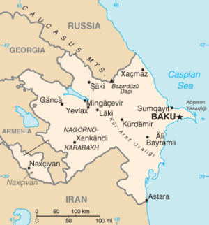 Extreme points of Azerbaijan - Map of Azerbaijan