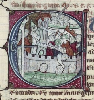 Crusades - Miniature of the Siege of Acre (1291) (Estoire d'Oultre-Mer, BNF fr. 2825, fol 361v, ca. 1300)