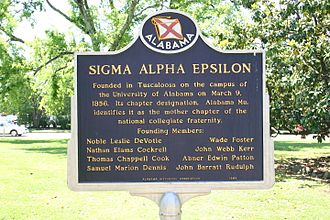 Sigma Alpha Epsilon - Historical marker about the founders of Sigma Alpha Epsilon on the campus of the University of Alabama.